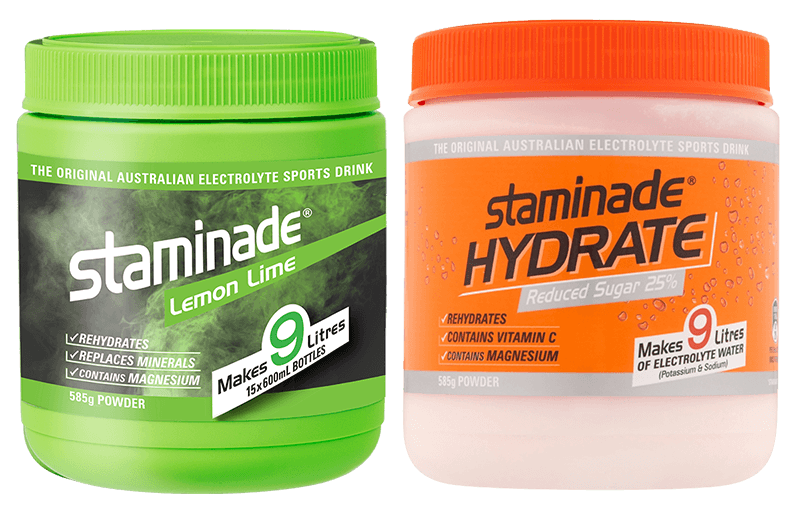 Lemon Lime and Staminade Hydrate 25% reduced sugar Orange Powdered Sports Drink tubs