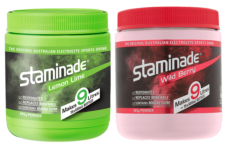 Staminade Lemon Lime and Staminade Wild Berry sports powder tubs