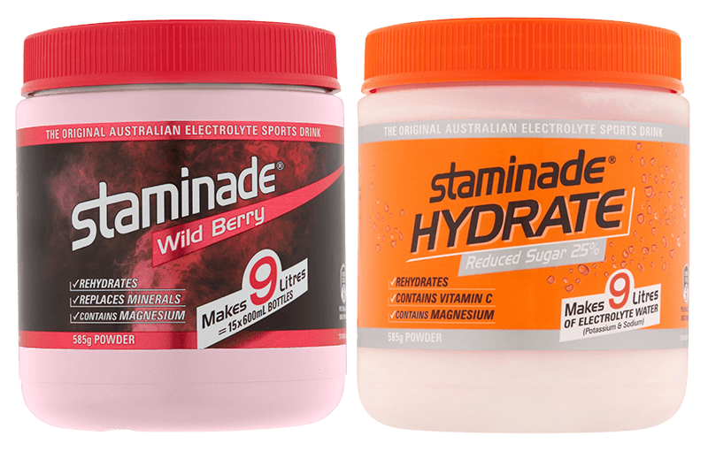 Staminade Wild Berry and Staminade Hydrate Orange 25% Reduced Sugar Sports Drink Powder Tubs